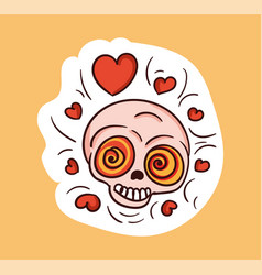 colorful lovely skull sticker with hearts over vector image