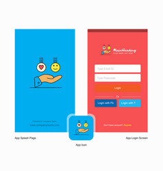 Company emoji in hands splash screen and login vector