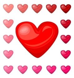 Cute shiny red pink heart icons set isolated on vector