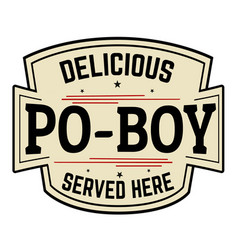 Delicious po-boy label or icon vector