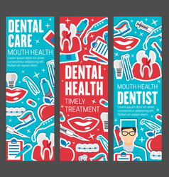 dentistry banners doctor and dental care tools vector image