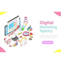 digital marketing agency flat isometric vector image