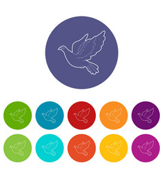 Dove icons set color vector