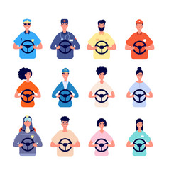driver characters people driving avatars vector image