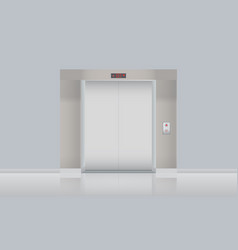 Elevator with closed doors blank mockup vector