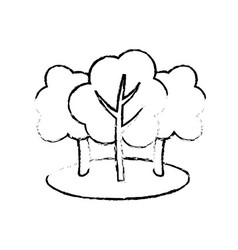 Figure natural trees with branches to ecology care vector