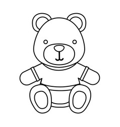 Figure teddy bear with shirt icon vector