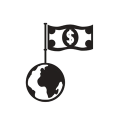 Flat icon in black and white dollar Earth vector