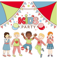 flat multinational kids party poster vector image