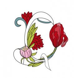 Floral font 2 letter q vector