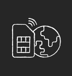 global sim card chalk white icon on black vector image
