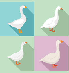 Goose icons set flat style vector