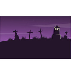 Graveyard landscape on halloween collection vector