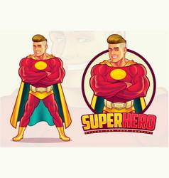 Handsome superhero mascot vector