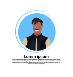 indian man face avatar traditional clothes male vector image