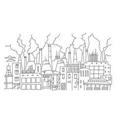 Industrial pollution big city panorama sketch vector