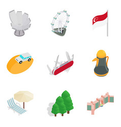 Islamic country icons set isometric style vector