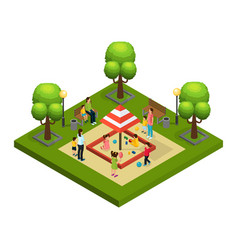 isometric nannies and children concept vector image