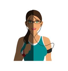 jogging girl cartoon shadow vector image vector image