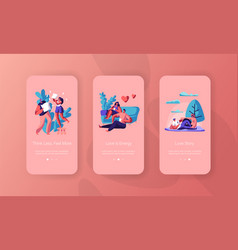 Joyful couple spend time mobile app page vector