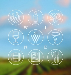 Line drawing set wine and winemaking icons vector
