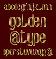 lower case golden typeface isolated alphabet vector image
