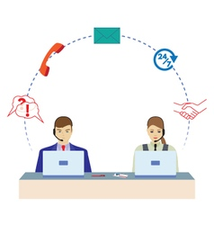 Man and woman working in a call center vector image