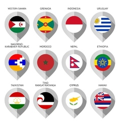 Marker from paper with flag for map - set fifteen vector image vector image
