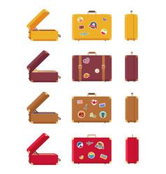 multicolored set of suitcases vector image