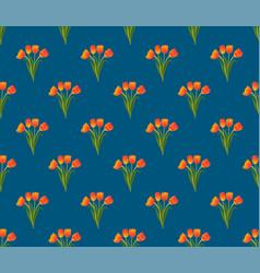 Orange tulip on indigo blue background vector