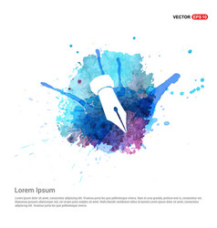 pen nib icon - watercolor background vector image