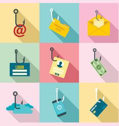 Phishing icon set flat style vector