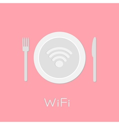 Plate with Wireless Network wifi icon inside pink vector image
