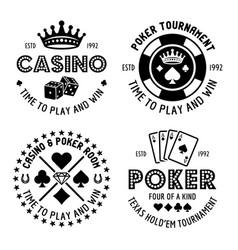 Poker and casino set four monochrome vector