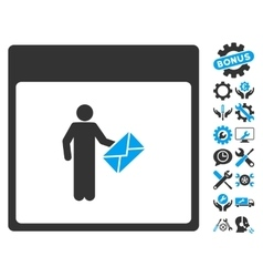 Postman Calendar Page Icon With Bonus vector
