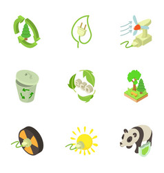 pure energy icons set isometric style vector image