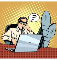 Questions and thoughts the businessman at laptop vector image