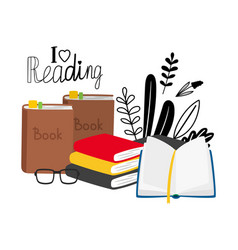 Reading concept with books glasses vector