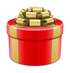 red gift box with gold ribbon vector image