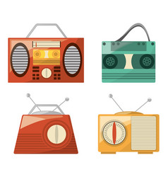 Retro radio to listent station music vector