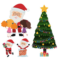 Santa claus and happy children with presents vector