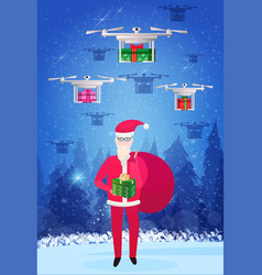 santa claus holding gift box sack drone delivery vector image