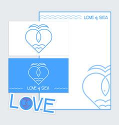 sea fish logo icon outline stroke tamplat set vector image