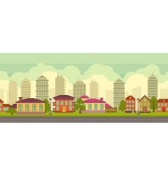 Seamless city landscape in flat style vector