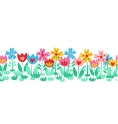 seamless cute flower border isolated on white vector image