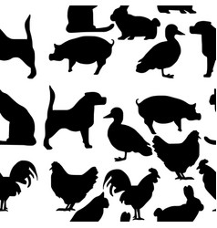 Seamless pattern pets silhouette vector