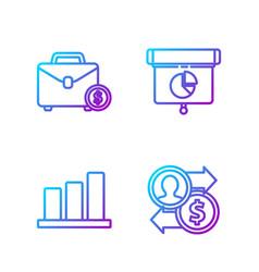 set line job promotion exchange money pie chart vector image