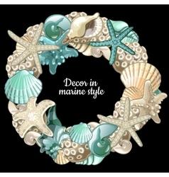 Set of ocean decor wreath on a black background vector image vector image