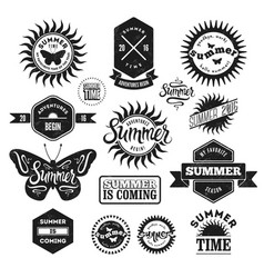 set summer typographic retro labels and badges vector image