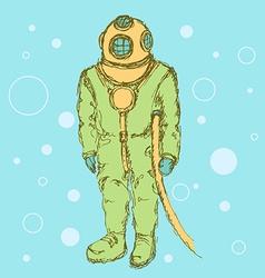 Sketch cute vintage diving suit vector